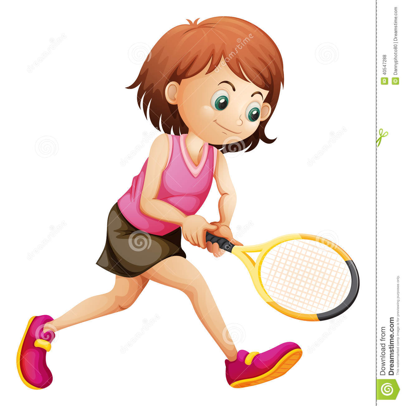 a cute little girl playing tennis stock vector image Cartoon Tennis Racket Clip Art Tennis Player Clip Art Border