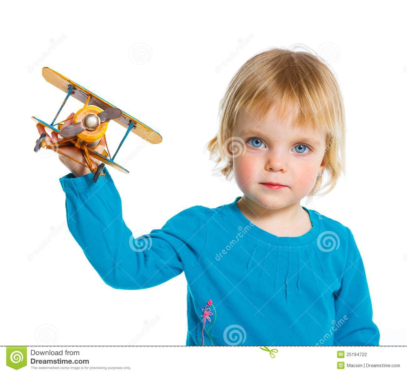 Adorable Little Girl Playing With Beach Toys During: Cute Little Girl Playing With A Toy Airplane Stock Photo