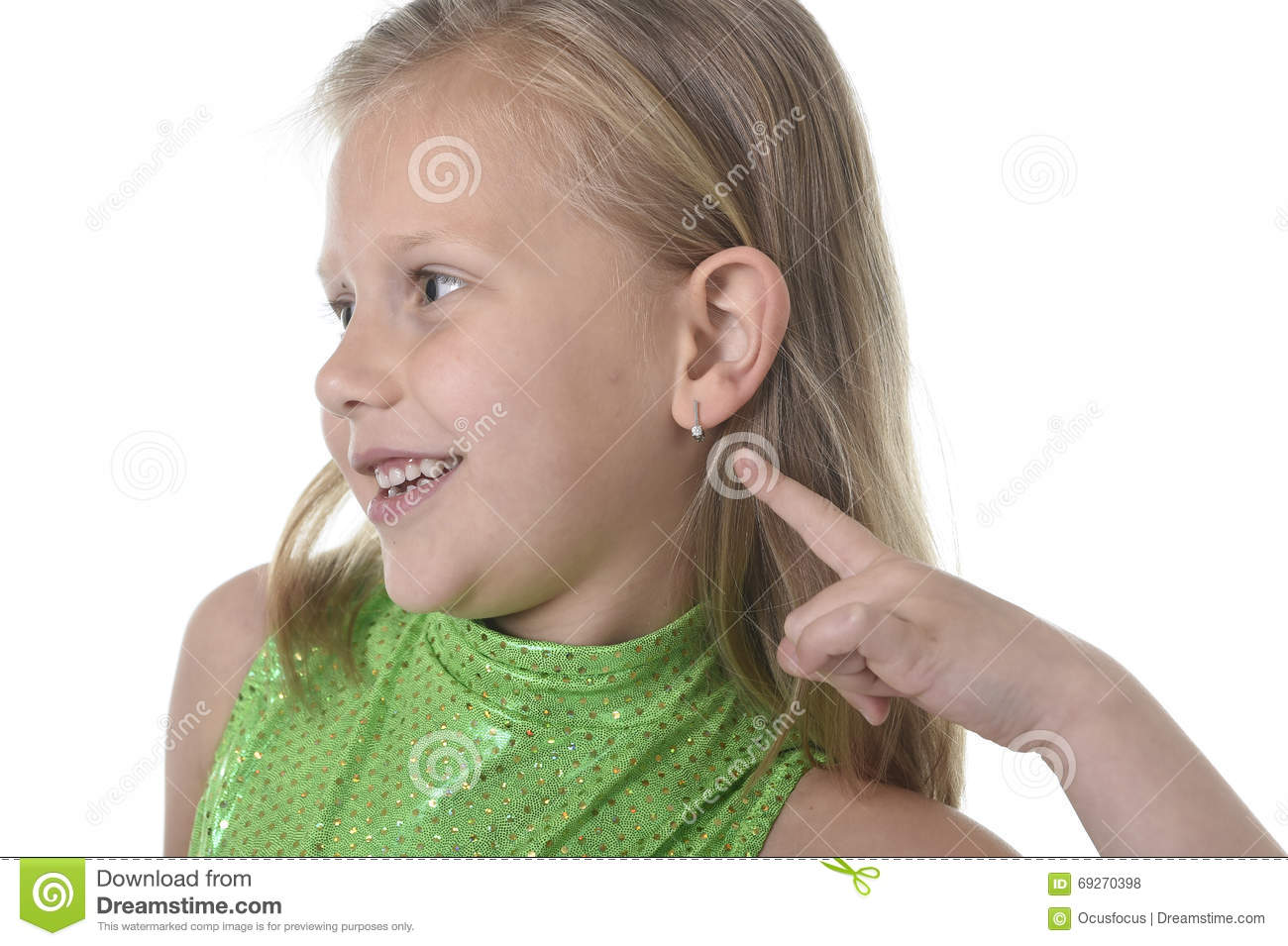 Cute little girl pointing her ear in body parts learning school chart serie
