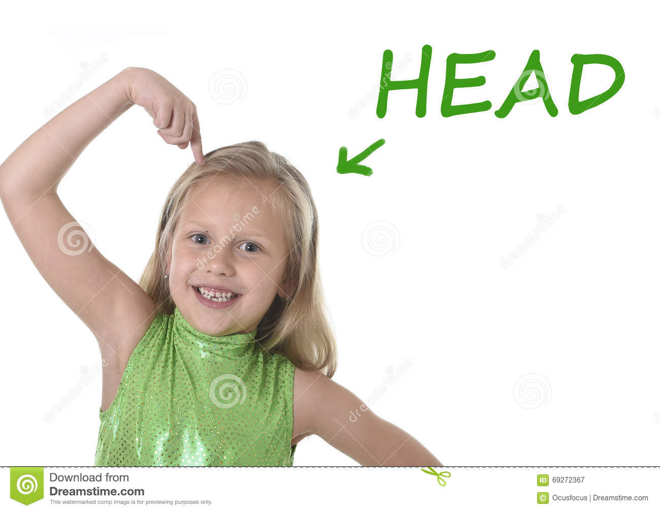 cute little girl pointing her head in body parts learning english