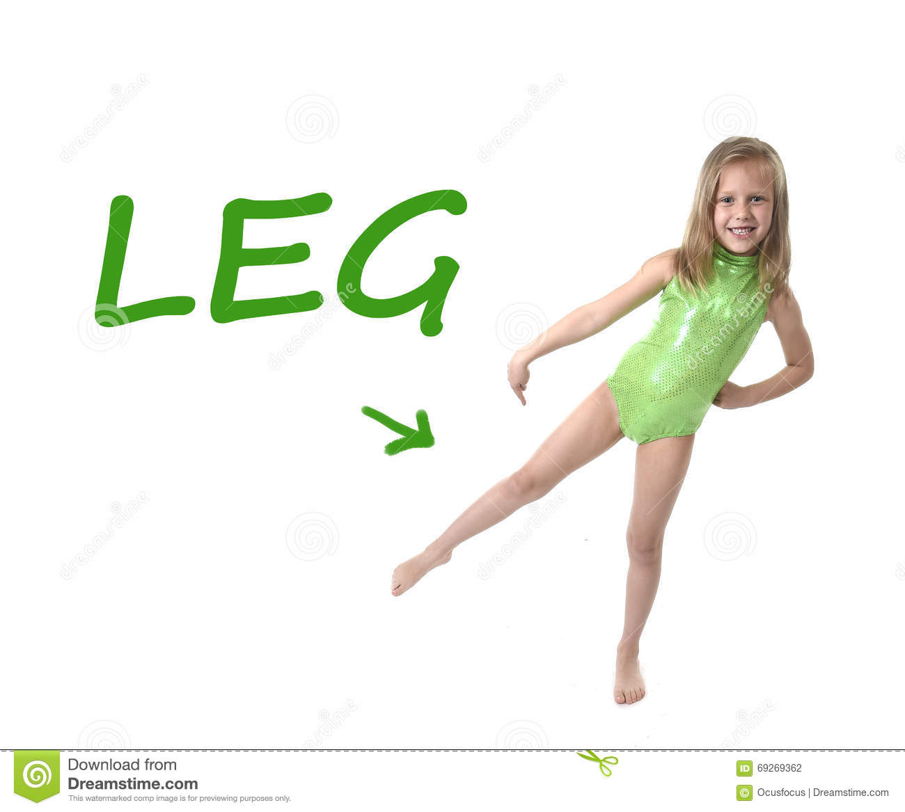 Cute Little Girl Pointing Leg In Body Parts Learning English Words
