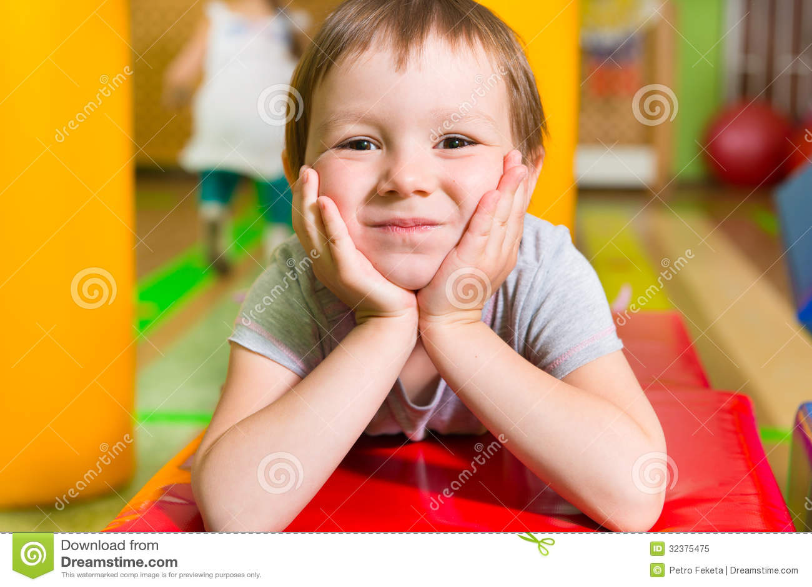 Cute little girl portrait in daycare