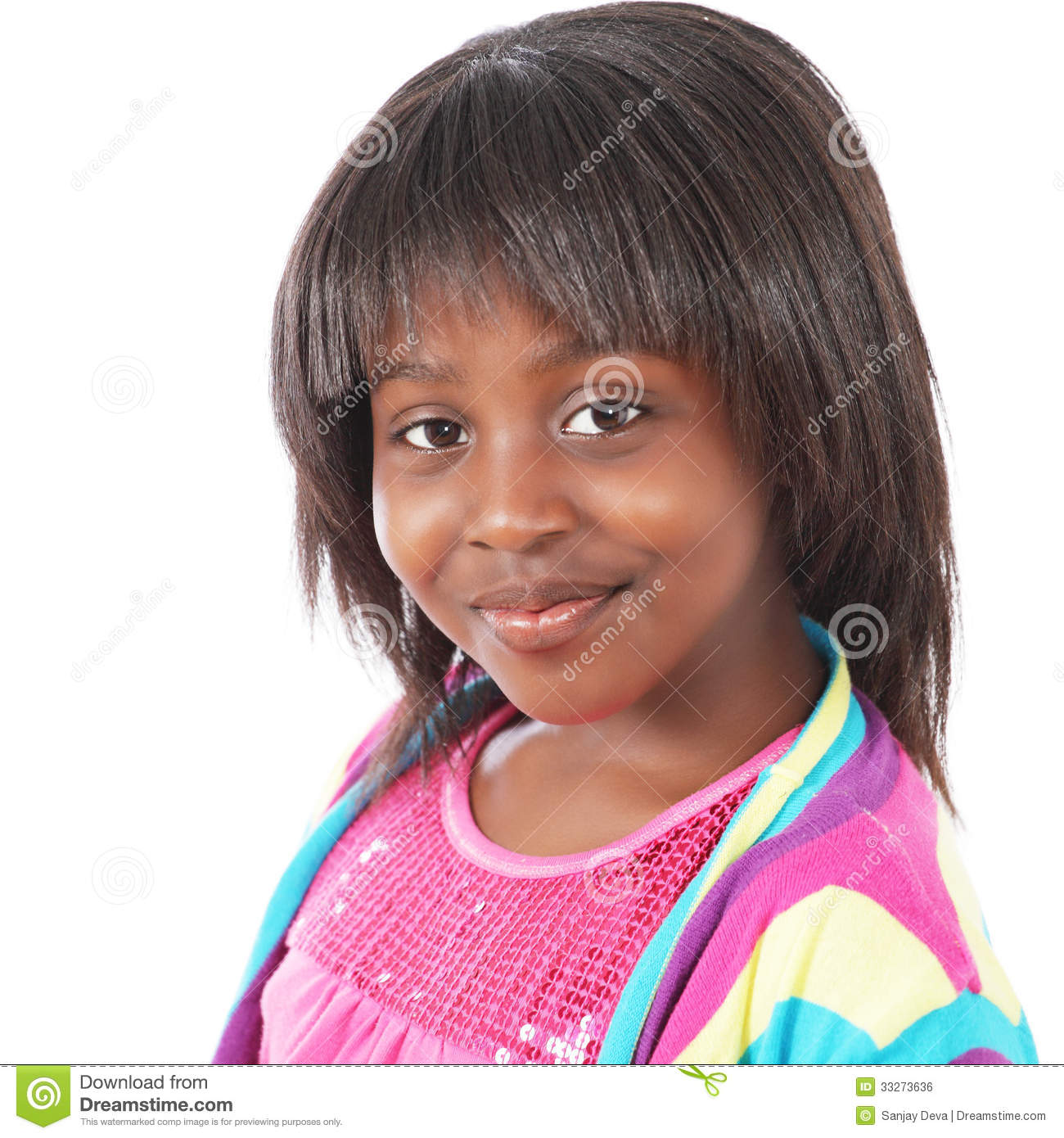 Download Cute little girl stock photo. Image of fringe, child - 33273636