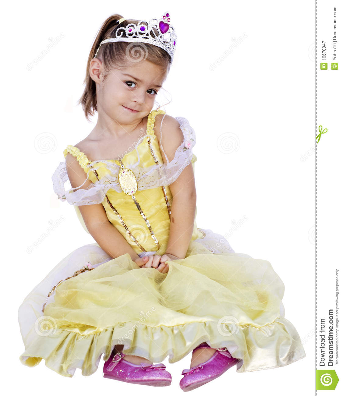 Cute Little Girl With Princess Dress On Royalty Free Stock ...