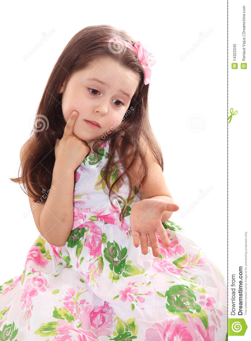 Cute Little Girl Puzzled Royalty Free Stock Photo - Image: 14323345