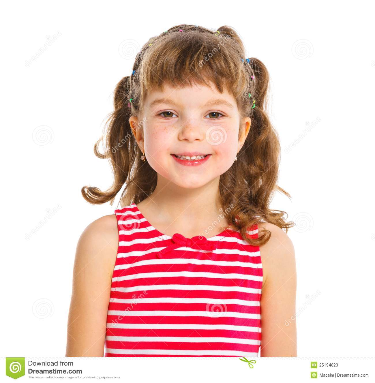 Cute Little Girl In Red Clothes Stock Image Image 25194823