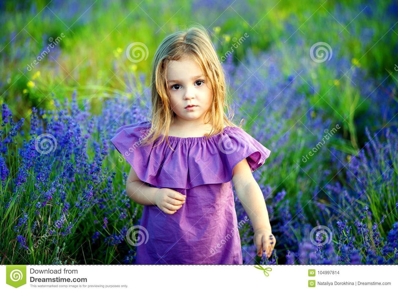 Little girl little girl in a pink dress looking hurt and sad look, in the summer on a flowering field background
