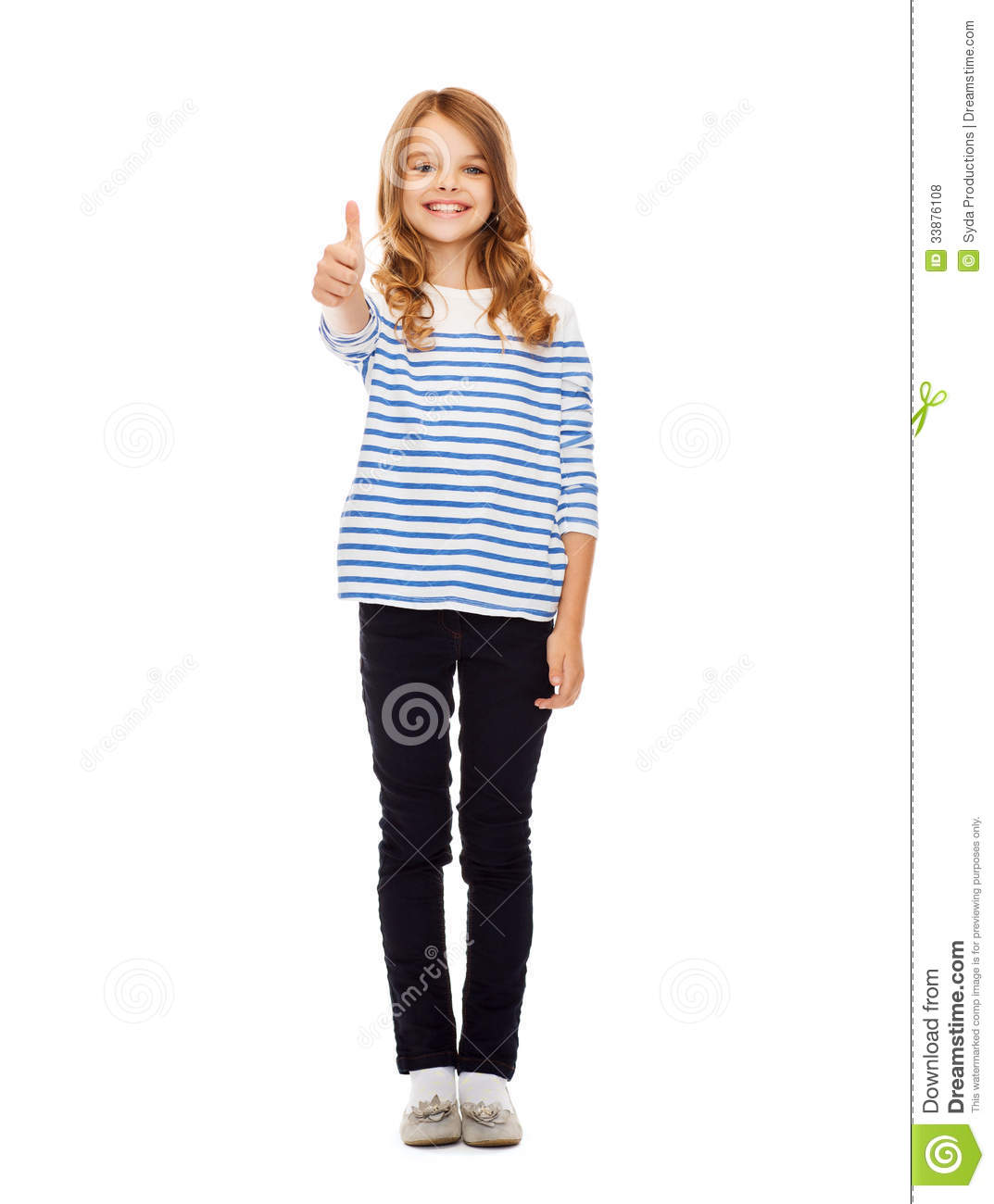Cute little girl showing thumbs up