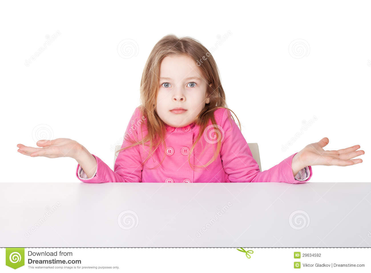 cute little girl shrugging her shoulders stock photo image of cute