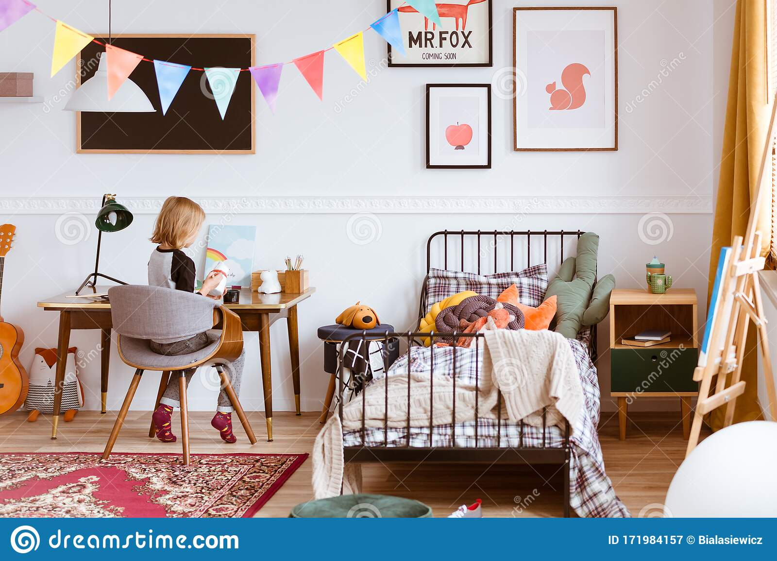 Cute Little Girl Sitting At Desk In Her Stylish Vintage Bedroom With Workspace Stock Image Image Of Girl Copy 171984157