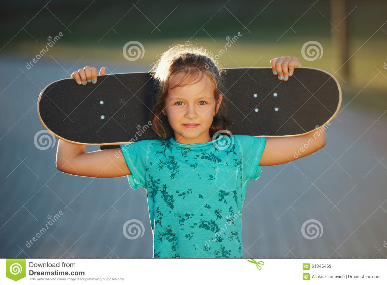 Does cute girl on skateboard consider