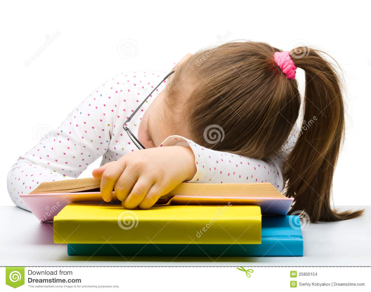 Cute Little Girl Is Sleeping On A Book Stock Images -5210