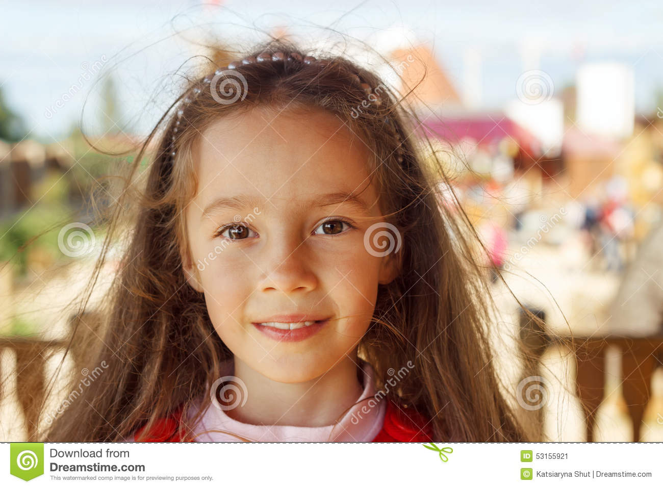 cute little girl smiling in a park close up stock image. Black Bedroom Furniture Sets. Home Design Ideas