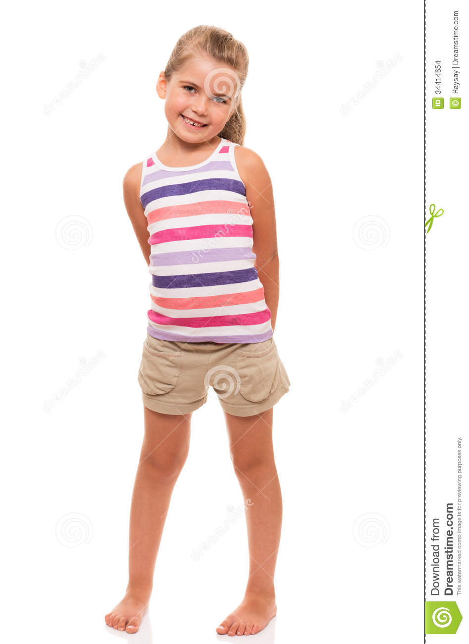 Cute Little Girl Standing On White Holding Hands Behind