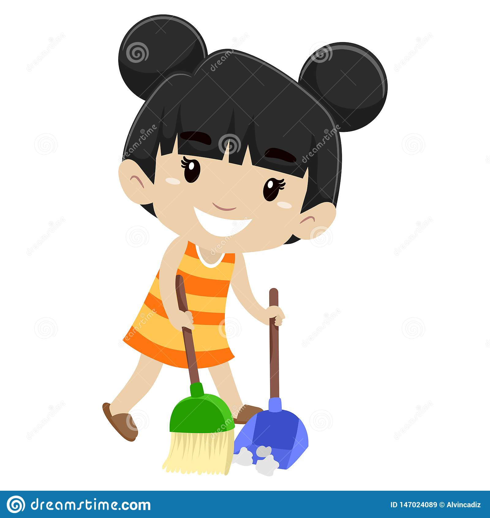 Vector Illustration Of A Little Girl Sweeping The Floor