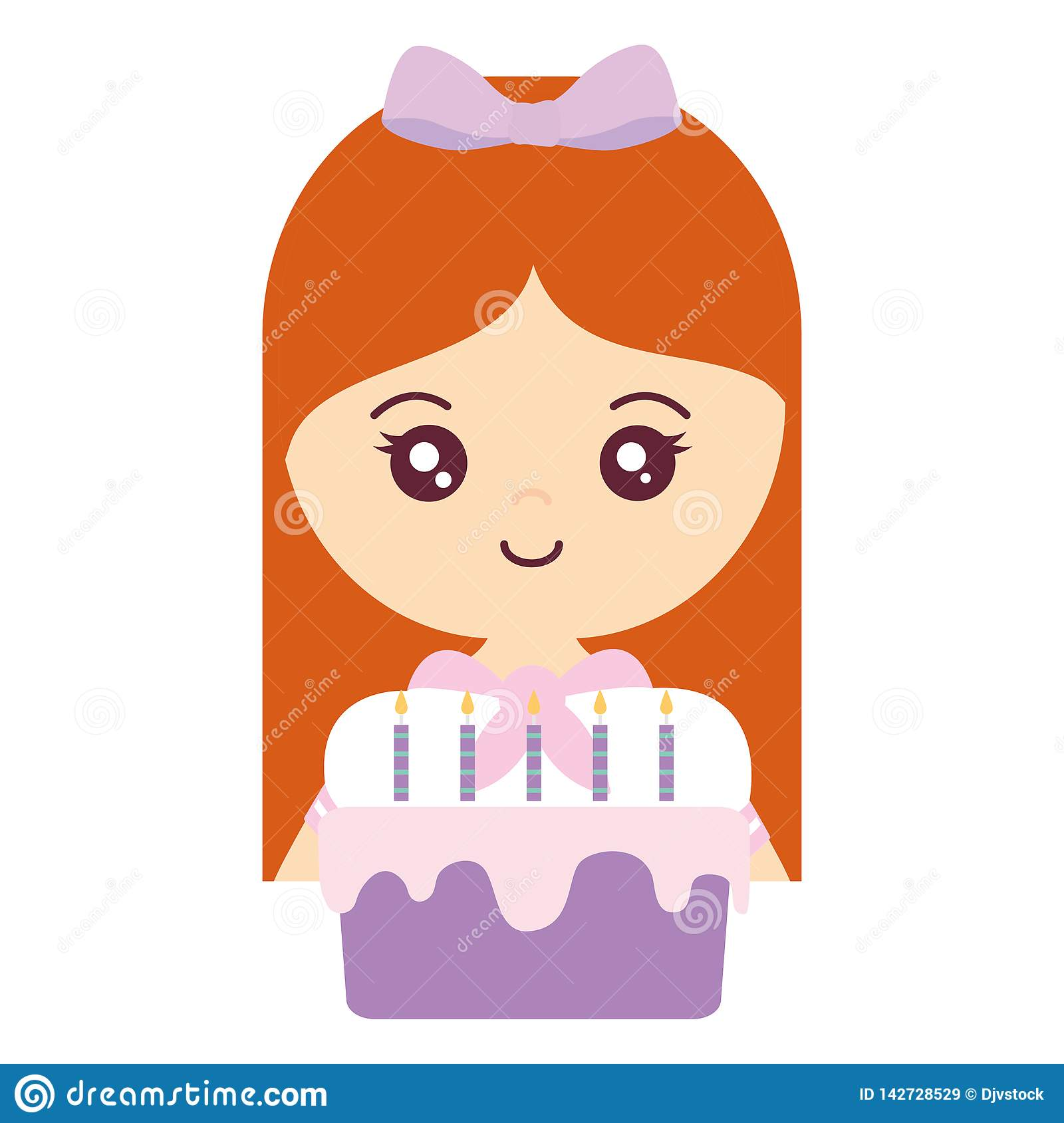 Cute and little girl with sweet cake. Cute and little girl with sweet cupcake vector illustration design royalty free stock images