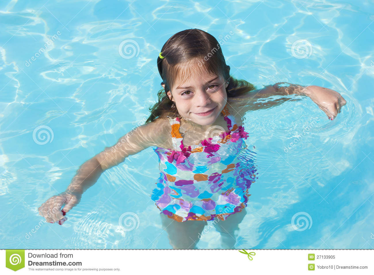 Cute little girl in a swimming pool stock image image of for Cute pool pictures