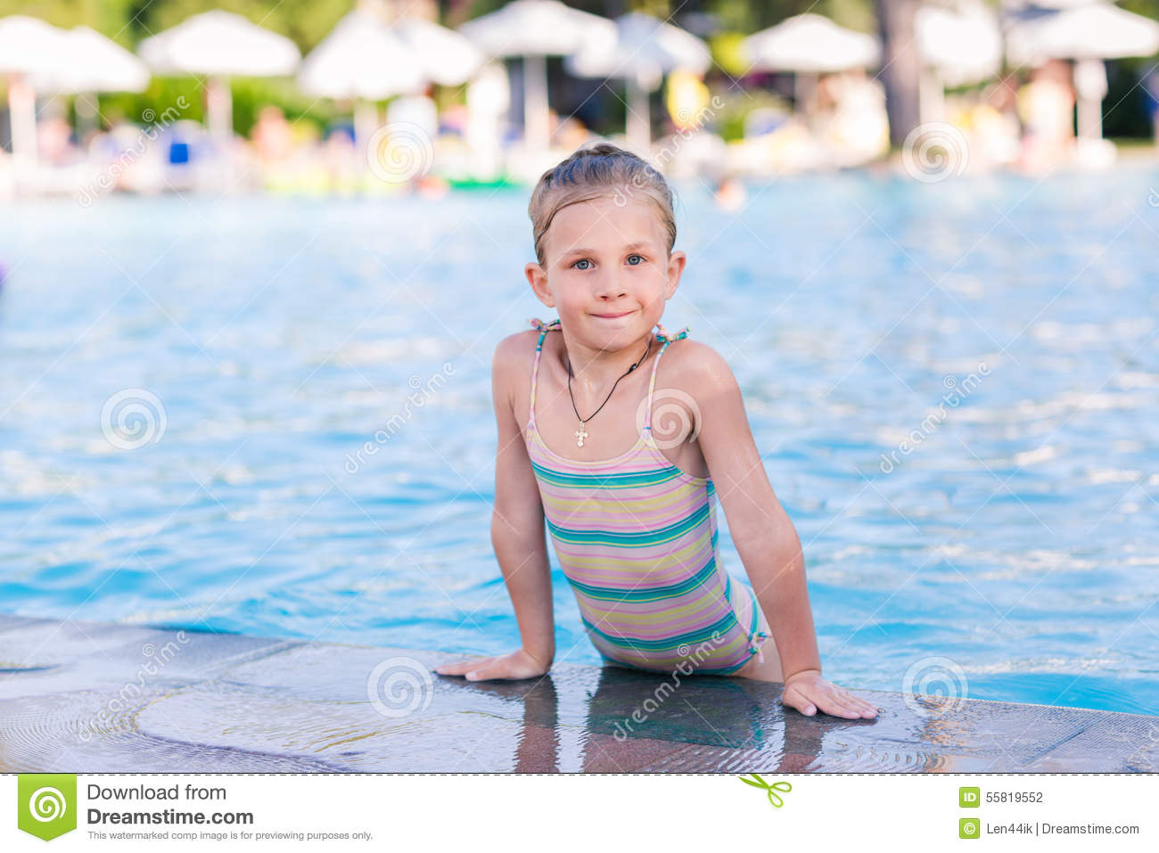 Cute little girl in swimming pool stock photo image for Cute pool pictures