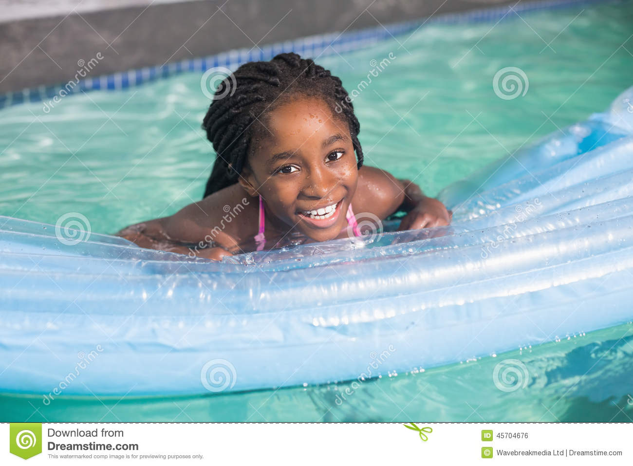 Cute little girl swimming in the pool stock photo image for Cute pool pictures