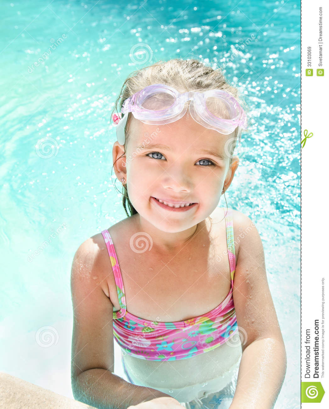 Cute little girl in swimming pool stock image image of for Cute pool pictures
