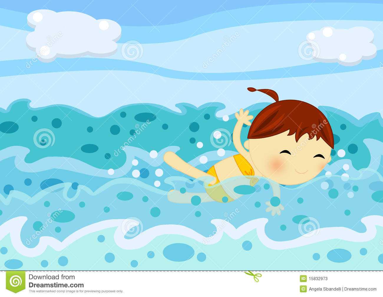 Cute Little Girl Swimming Among The Sea Waves Stock ...  Little