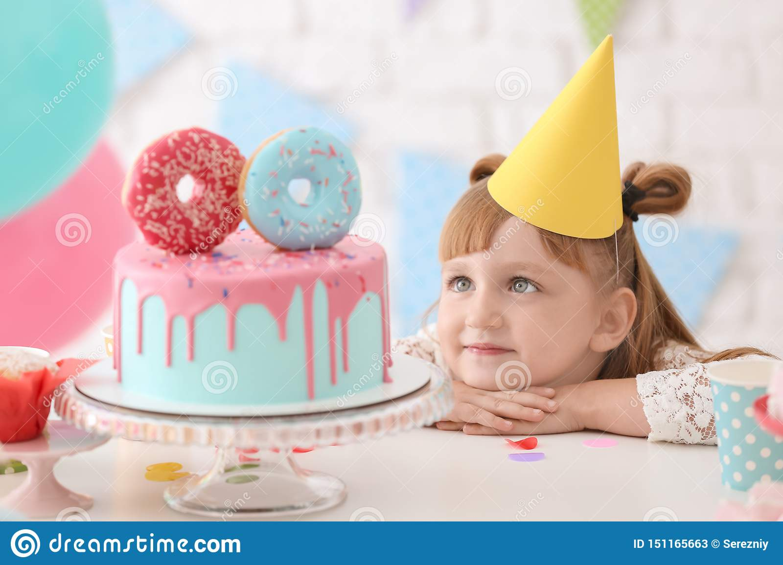 Superb Cute Little Girl With Tasty Birthday Cake At Party Stock Image Funny Birthday Cards Online Elaedamsfinfo
