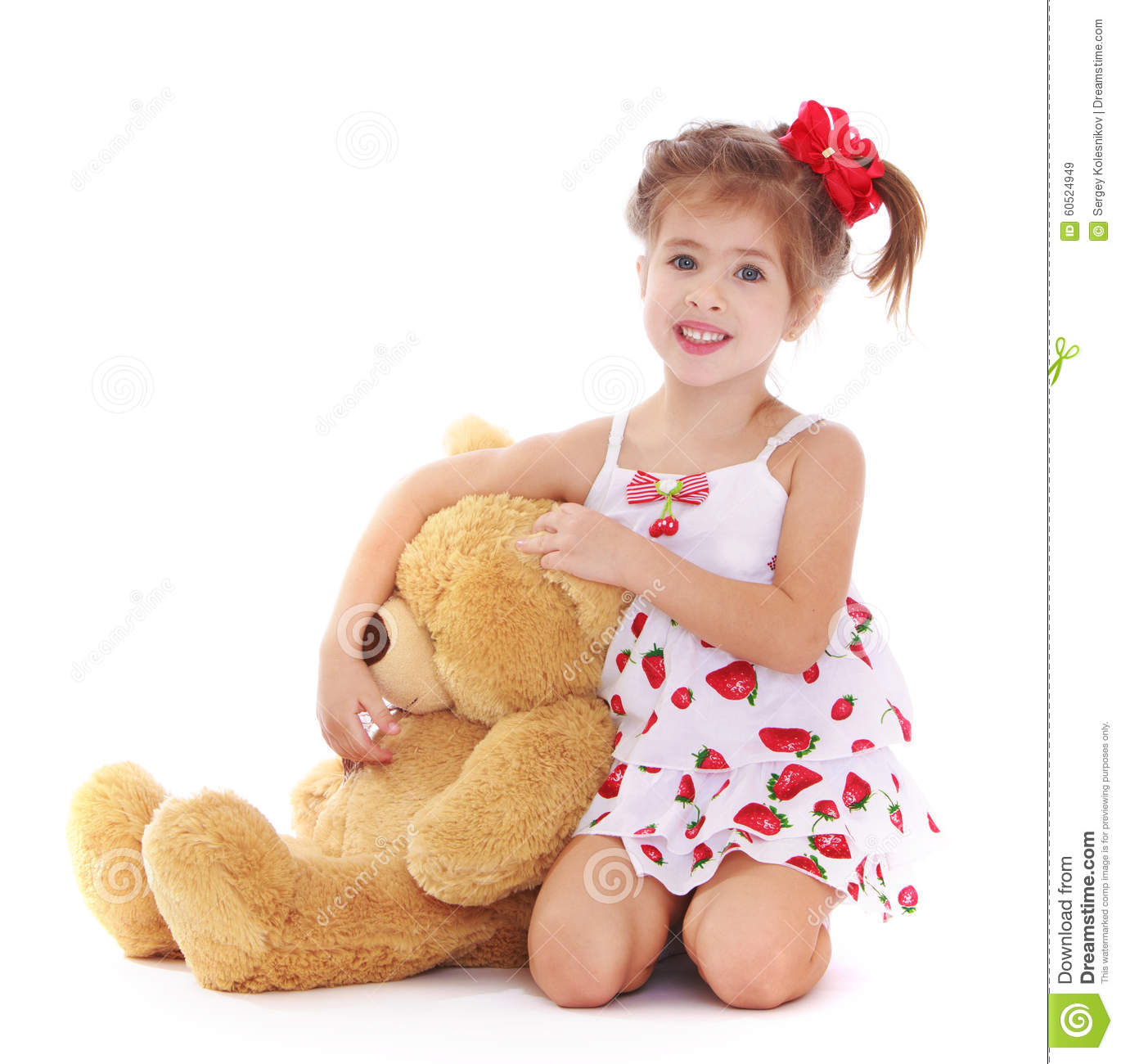 Cute Little Girl With A Teddy Bear Stock Image - Image ...Little Girl With Teddy Bear Black And White