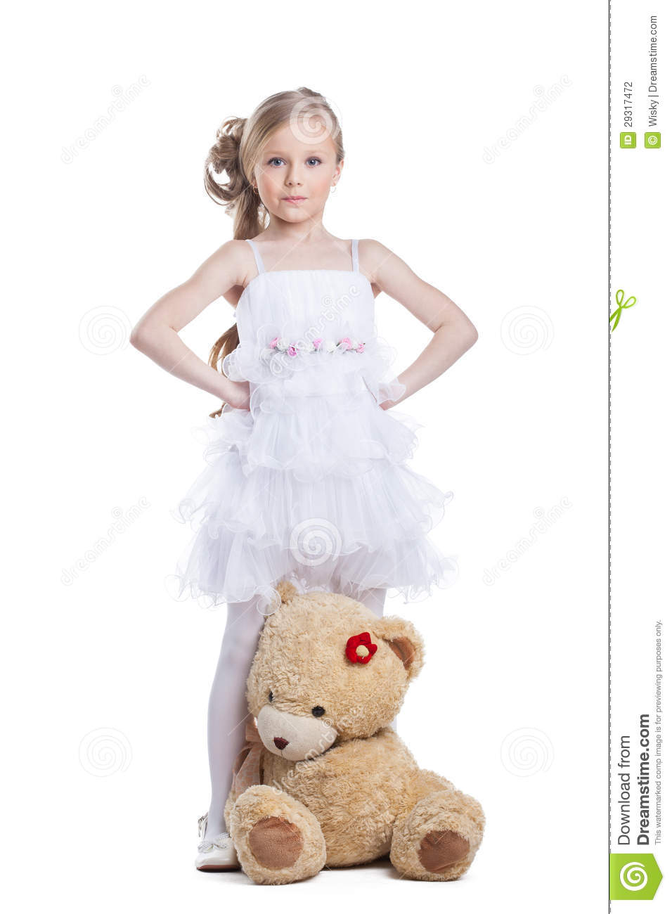 Cute Little Girl With Teddy Bear Posing In Studio Stock