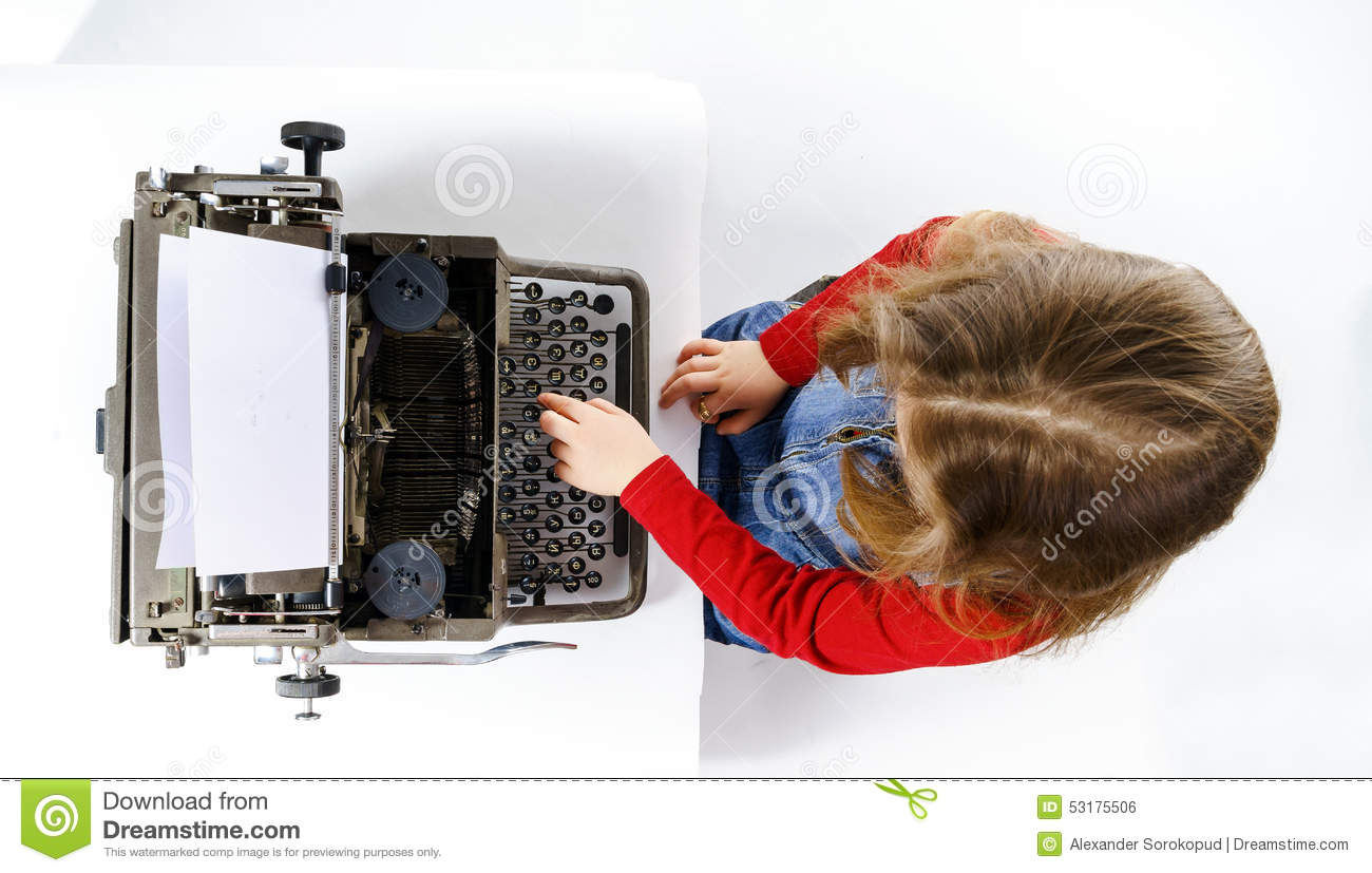 cute little girl typing on vintage typewriter keyboard stock photo image 53175506. Black Bedroom Furniture Sets. Home Design Ideas
