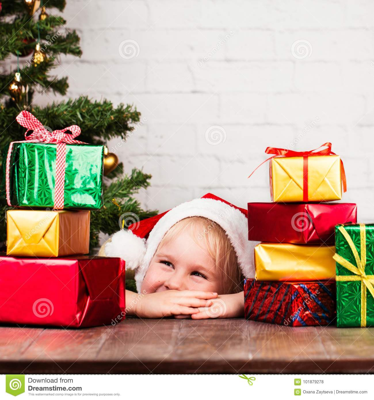 Little Girl With Christmas Gifts. Stock Photo - Image of santa ...