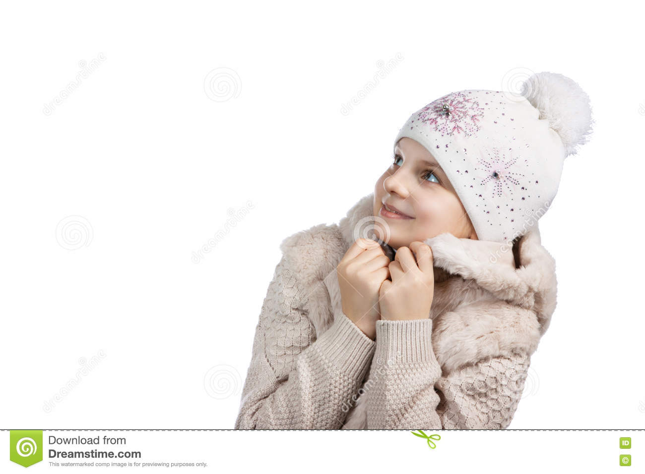 2c47aa2eff5c3 Cute little girl in warm clothes on white background. girl dresses. Glad  smiling girl