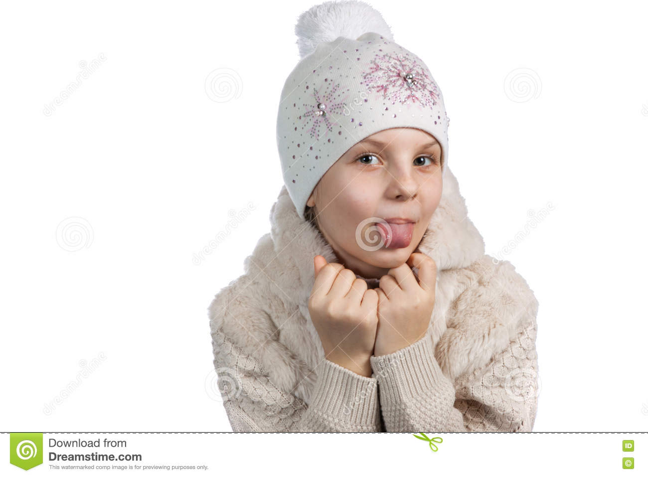 d736a4b72103 Cute Little Girl In Warm Clothes On White Background Stock Image ...