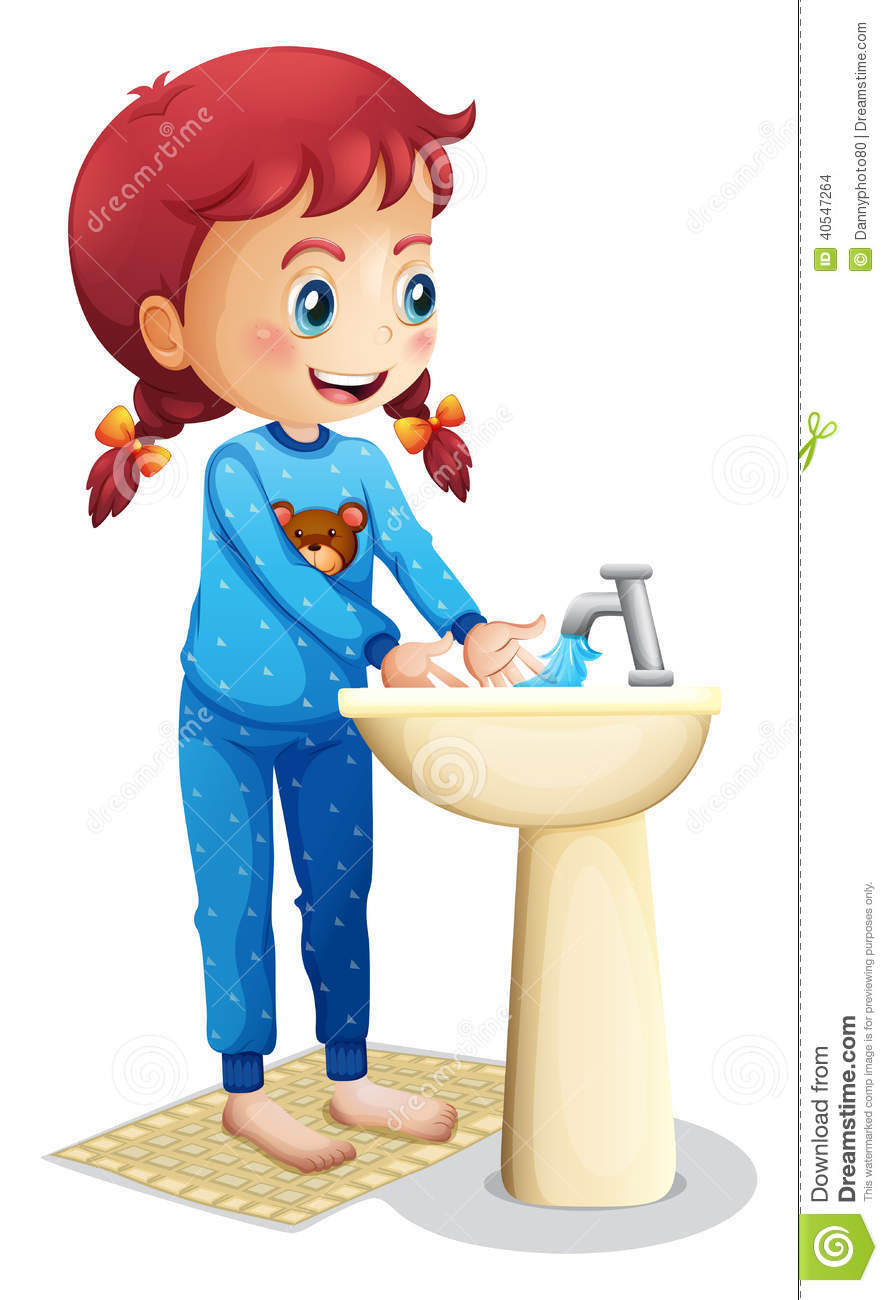 A Cute Little Girl Washing Her Face Stock Vector Image