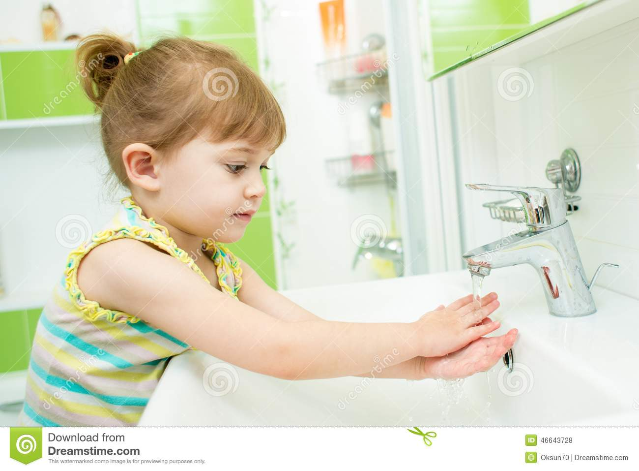 Cute Little Girl Washing Her Hands In Bathroom Stock Photo Image