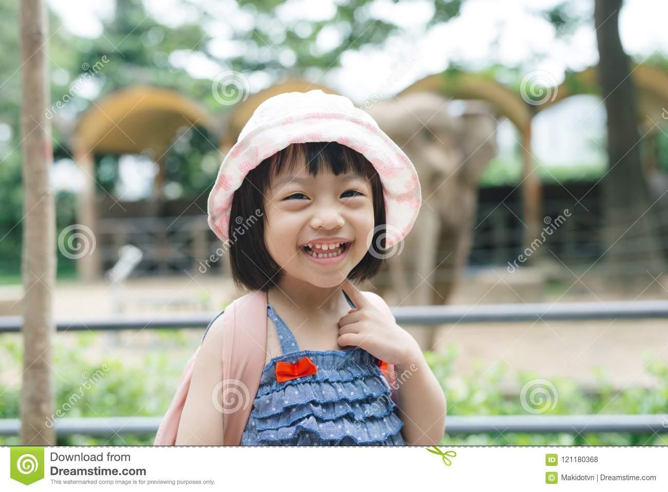 Cute little girl watching animals at the zoo on warm and sunny s