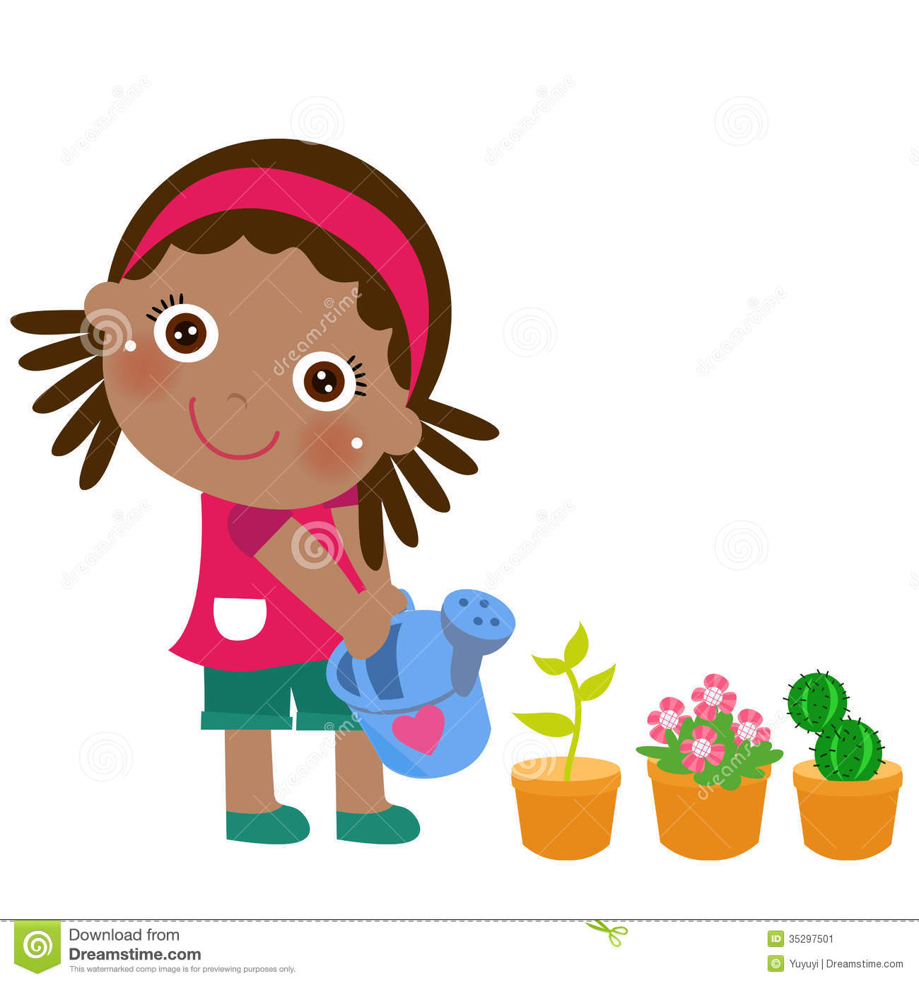 A Cute Little Girl Watering Flower Stock Vector ...