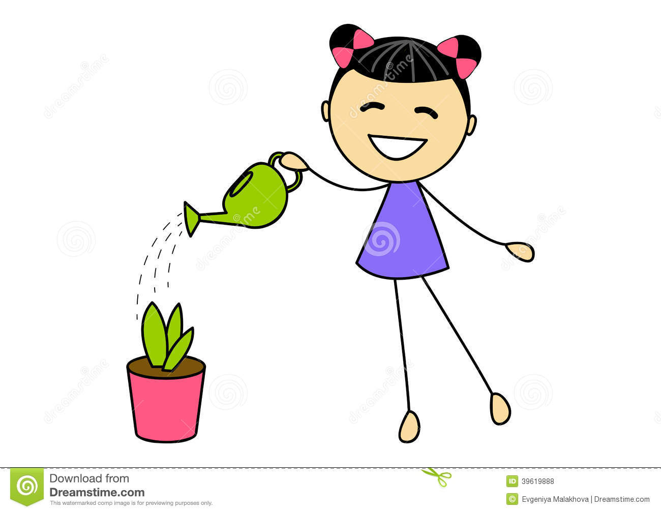 Cute Little Girl Watering Plant Stock Vector ...