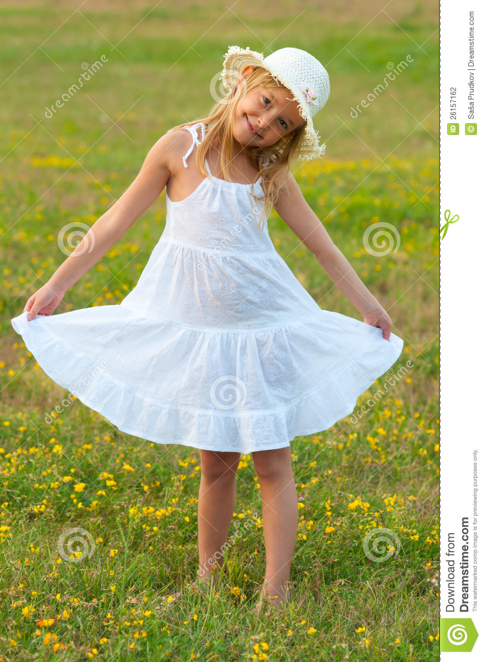 e0c4f2788 Cute Little Girl In White Dress And Hat Walking Stock Photo - Image ...