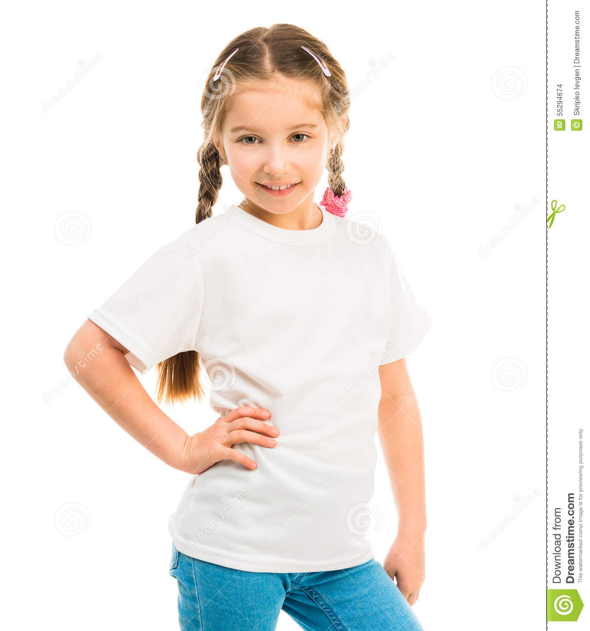 cute little girl in a white tshirt stock photo image