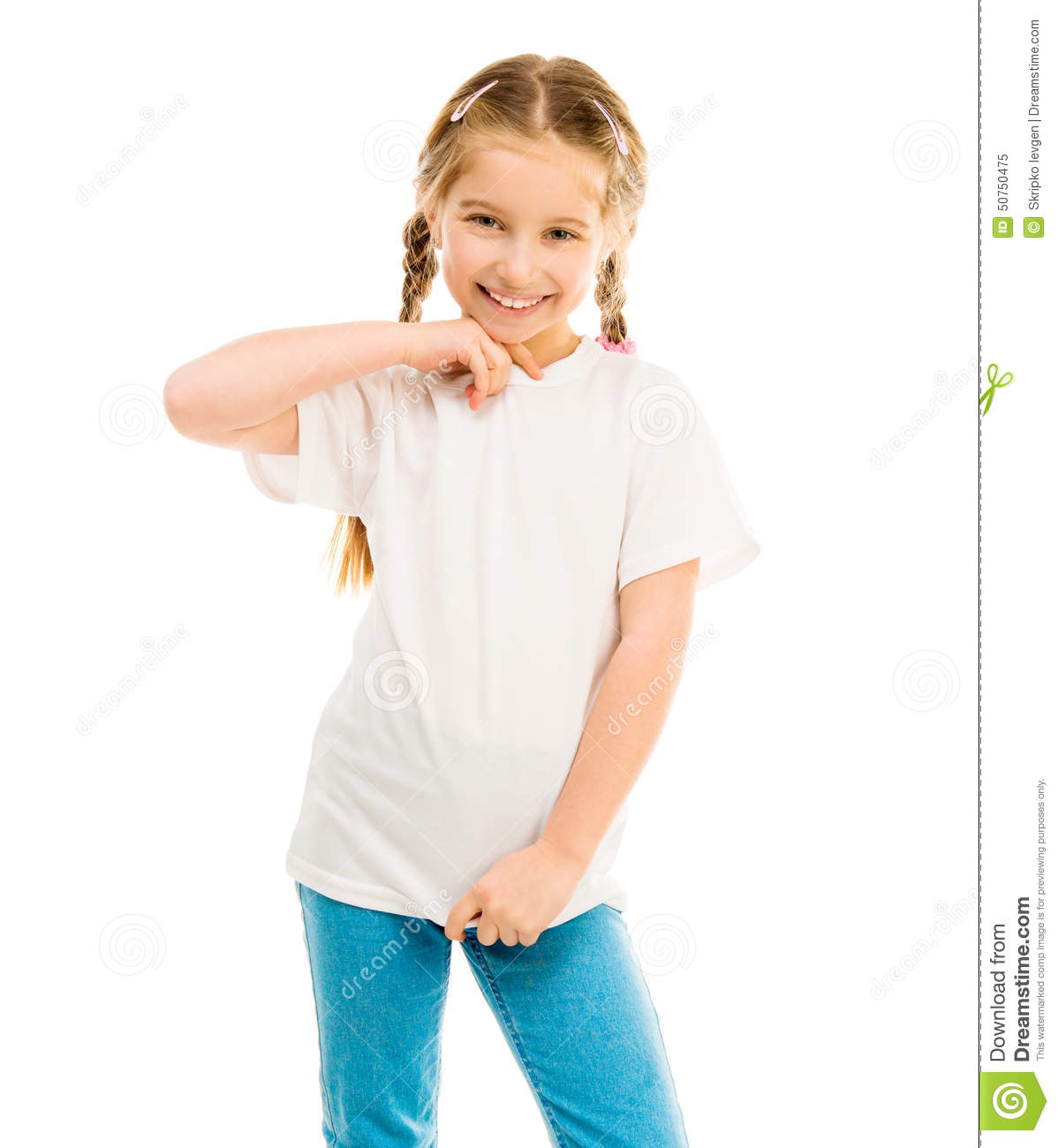 cute little girl in a white tshirt and blue jeans stock