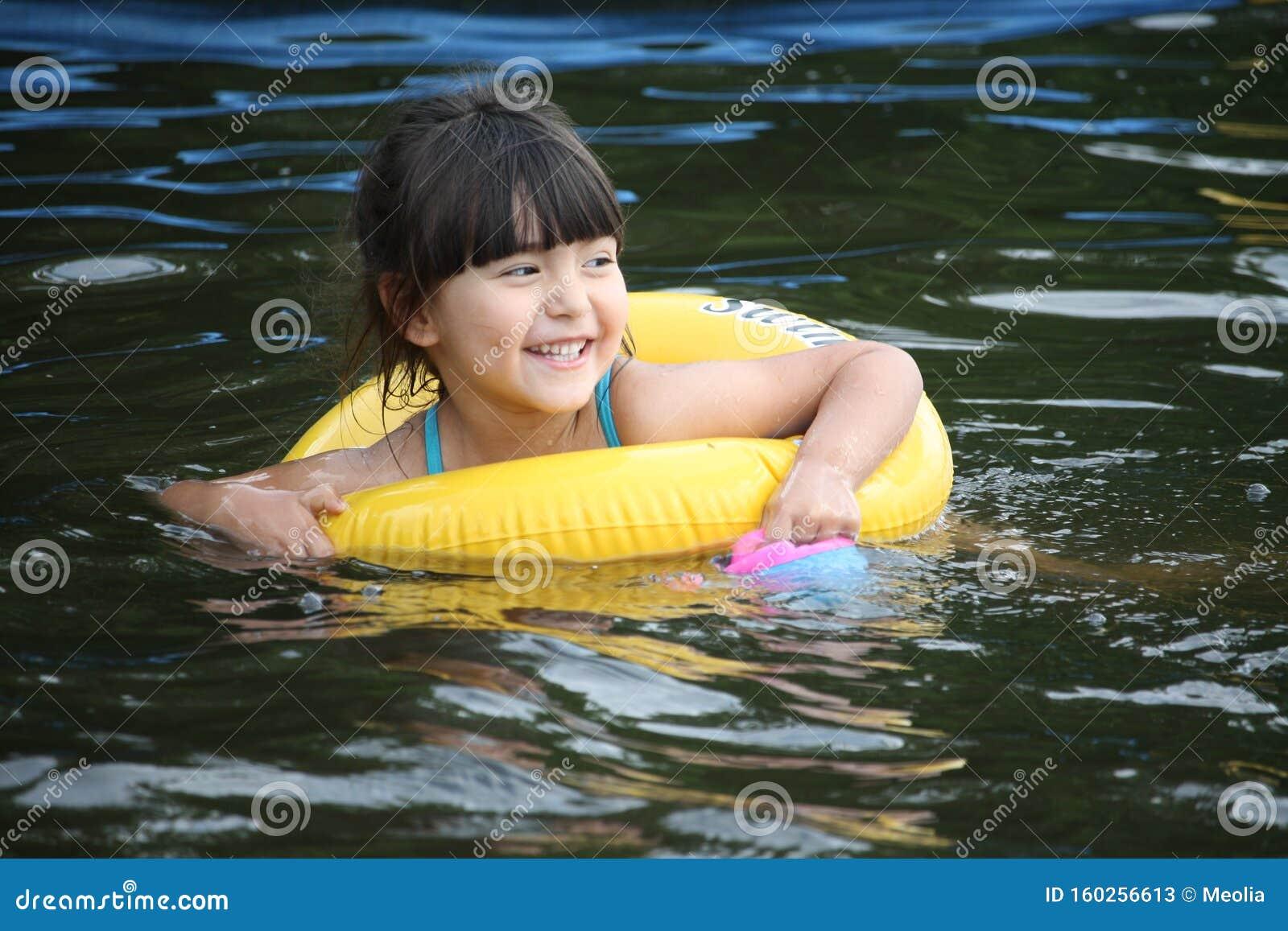 Cute Little Girl Swimming Underwater Stock Footage Video