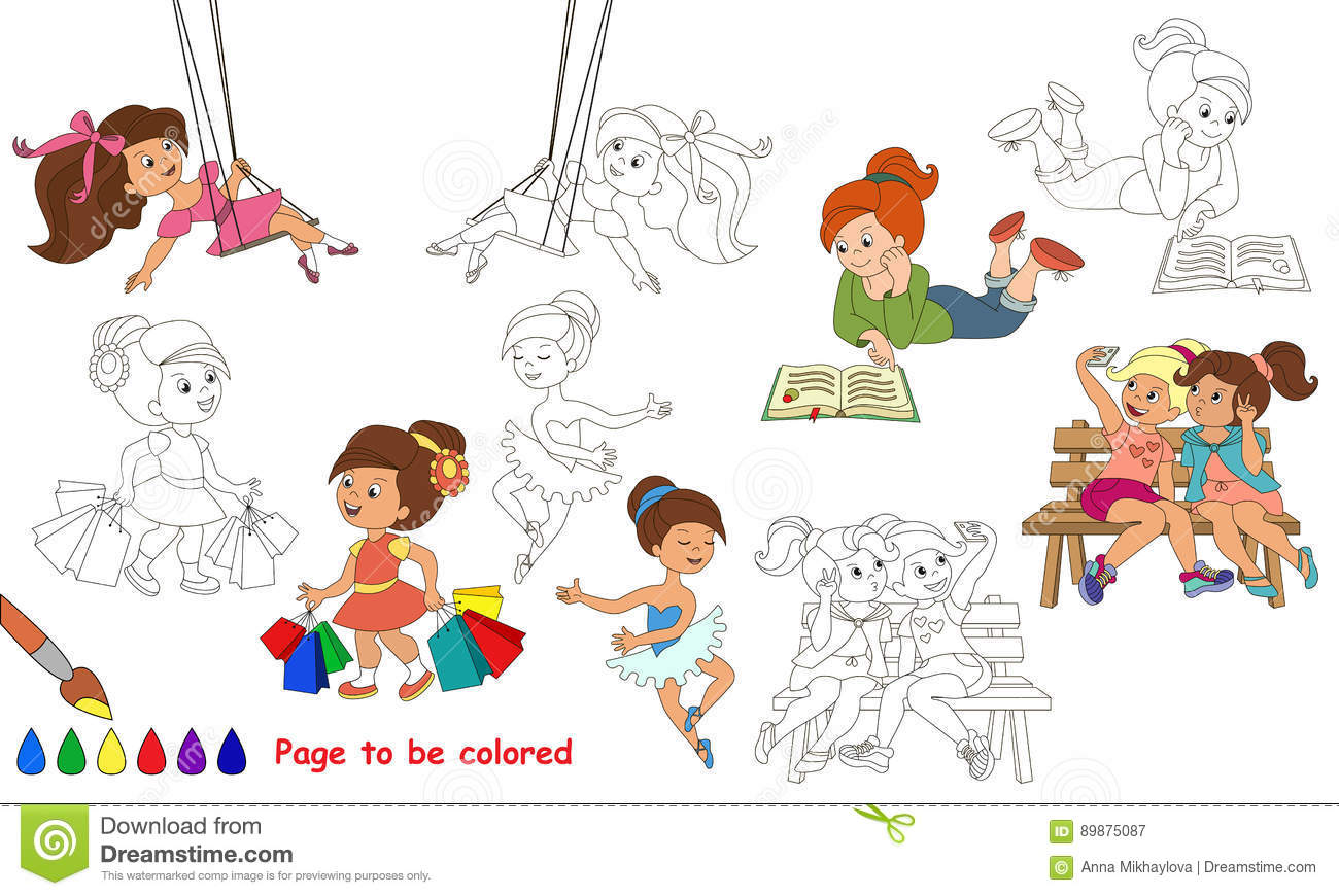 Cute Little Girls Cartoon Page To Be Colored Stock Vector