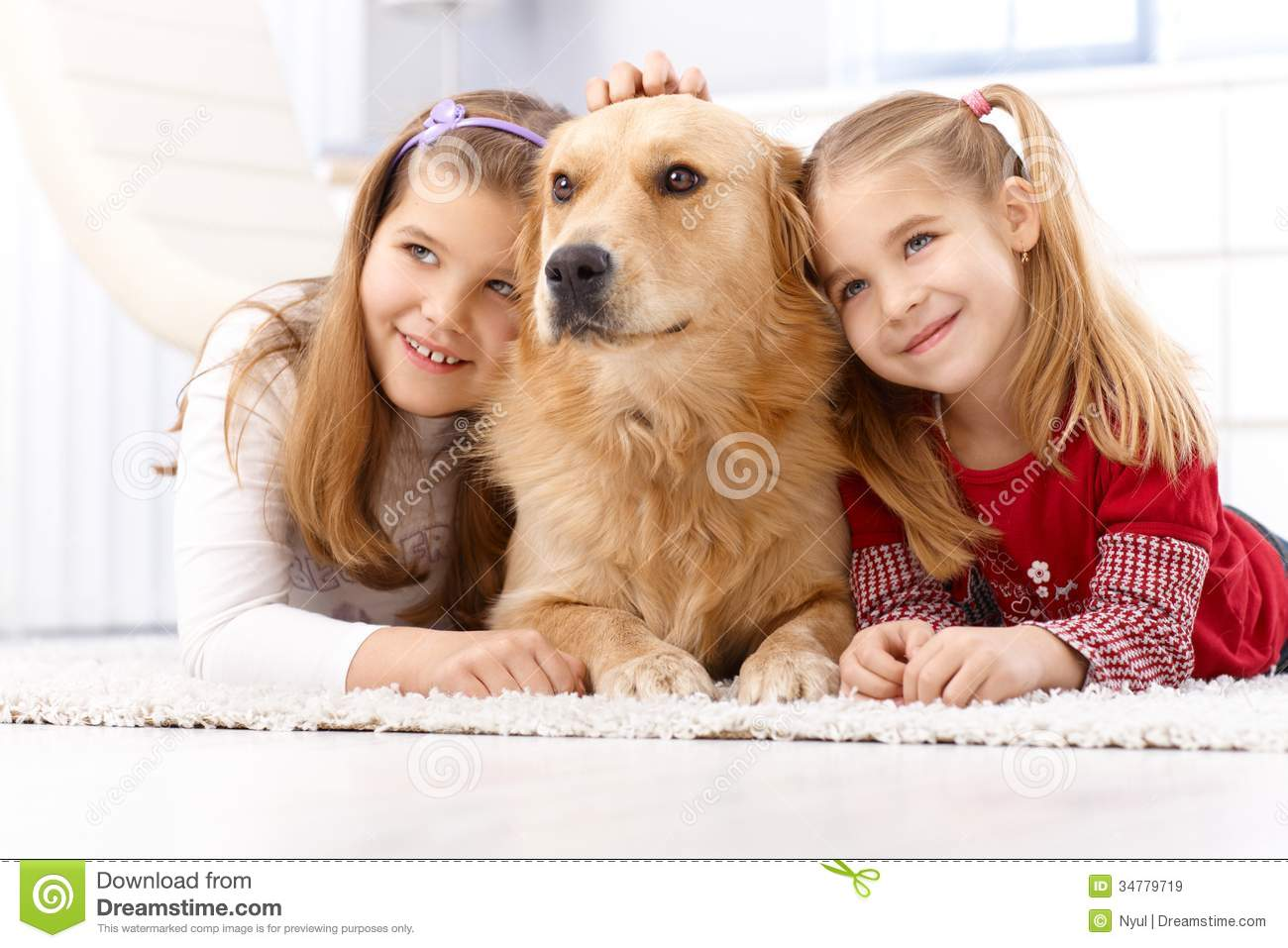 Cute Little Girls With Pet Dog Smiling Royalty Free Stock