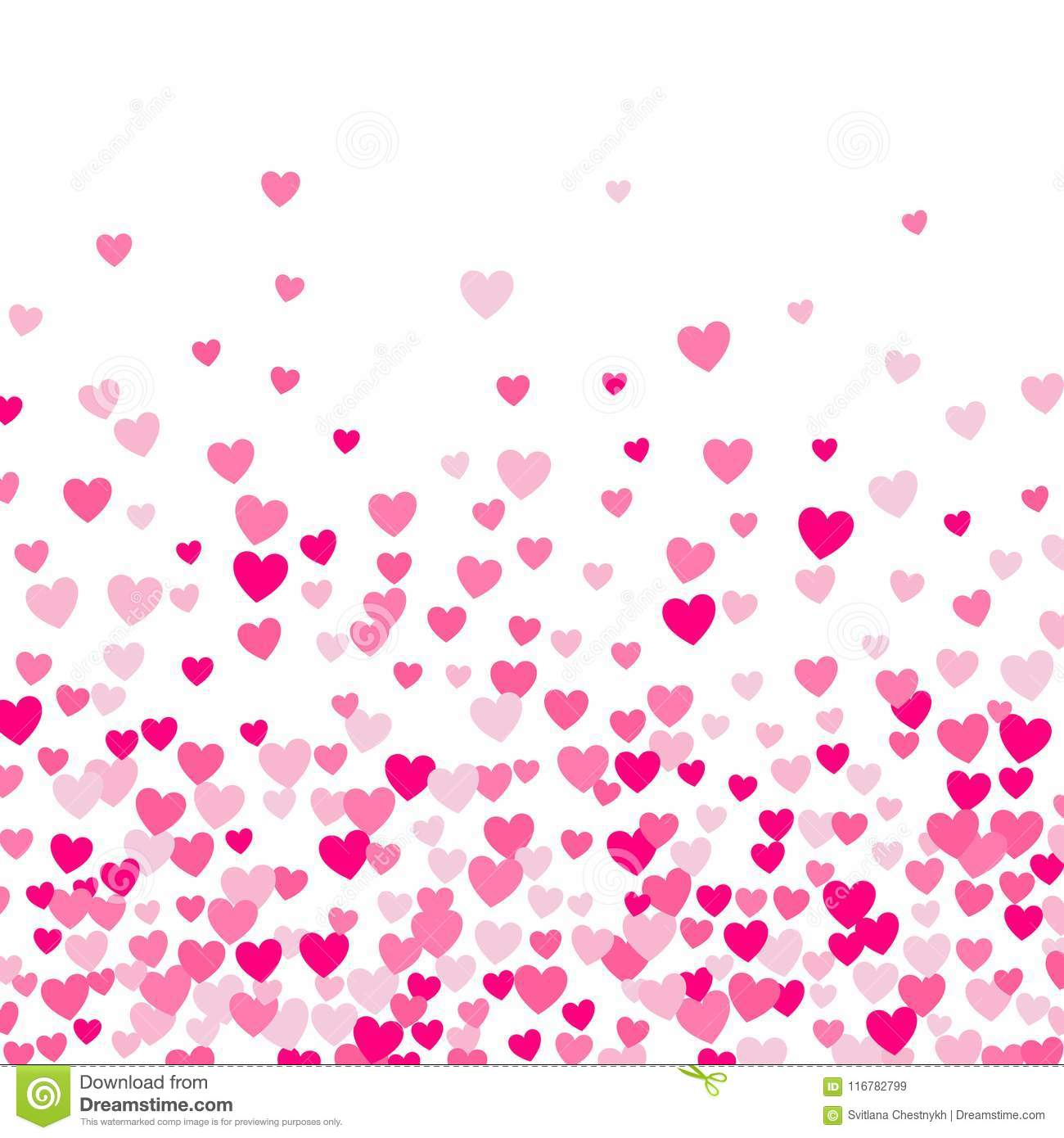 Cute little hearts background, random order, different size and colors