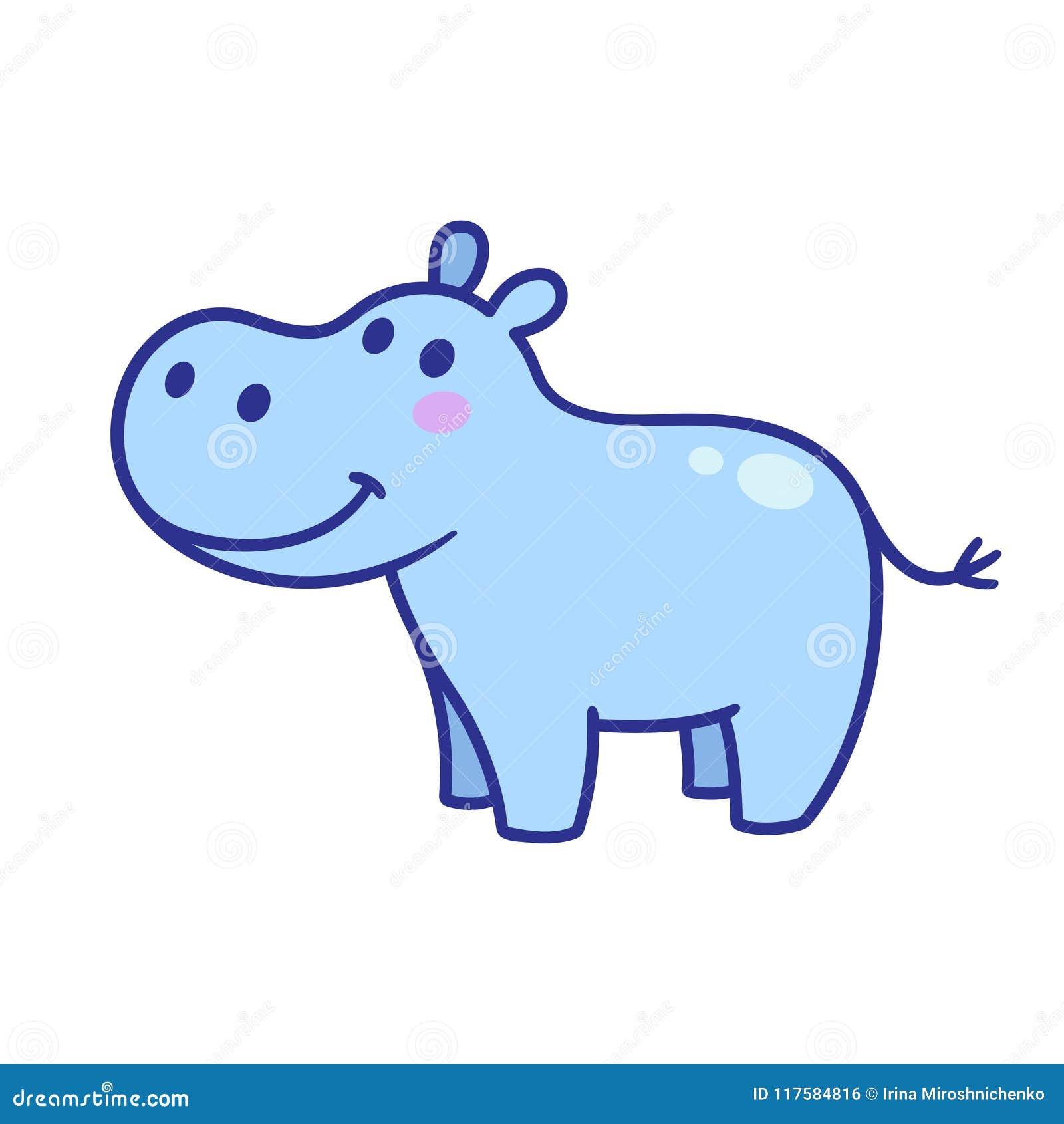 Cute Cartoon Hippo Stock Vector Illustration Of Cheerful 117584816