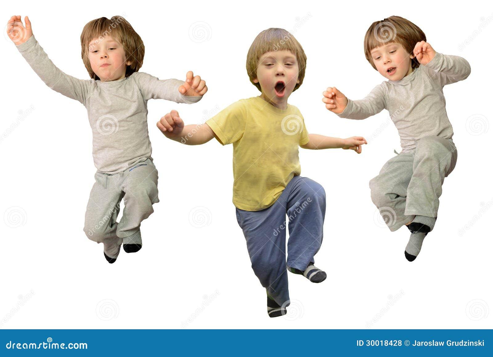 Cute little boy jumping