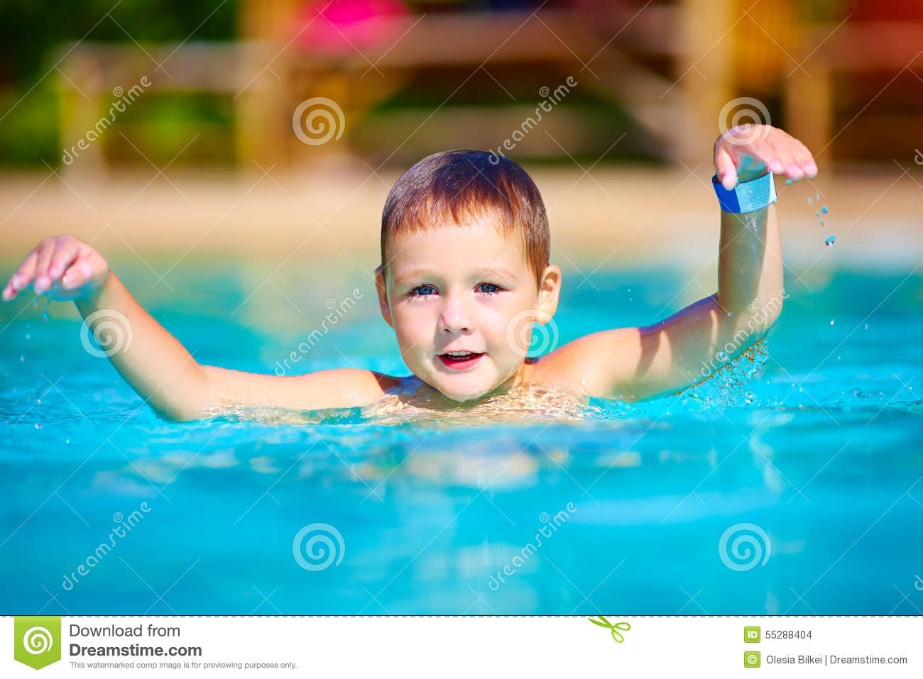 Cute little kid swimming in summer pool stock photo image 55288404 for Wetherby swimming pool swim times