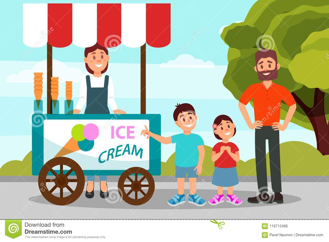 Cute little kids asking his father to buy ice cream. Dad spending time with his daughter and son in city park. Flat
