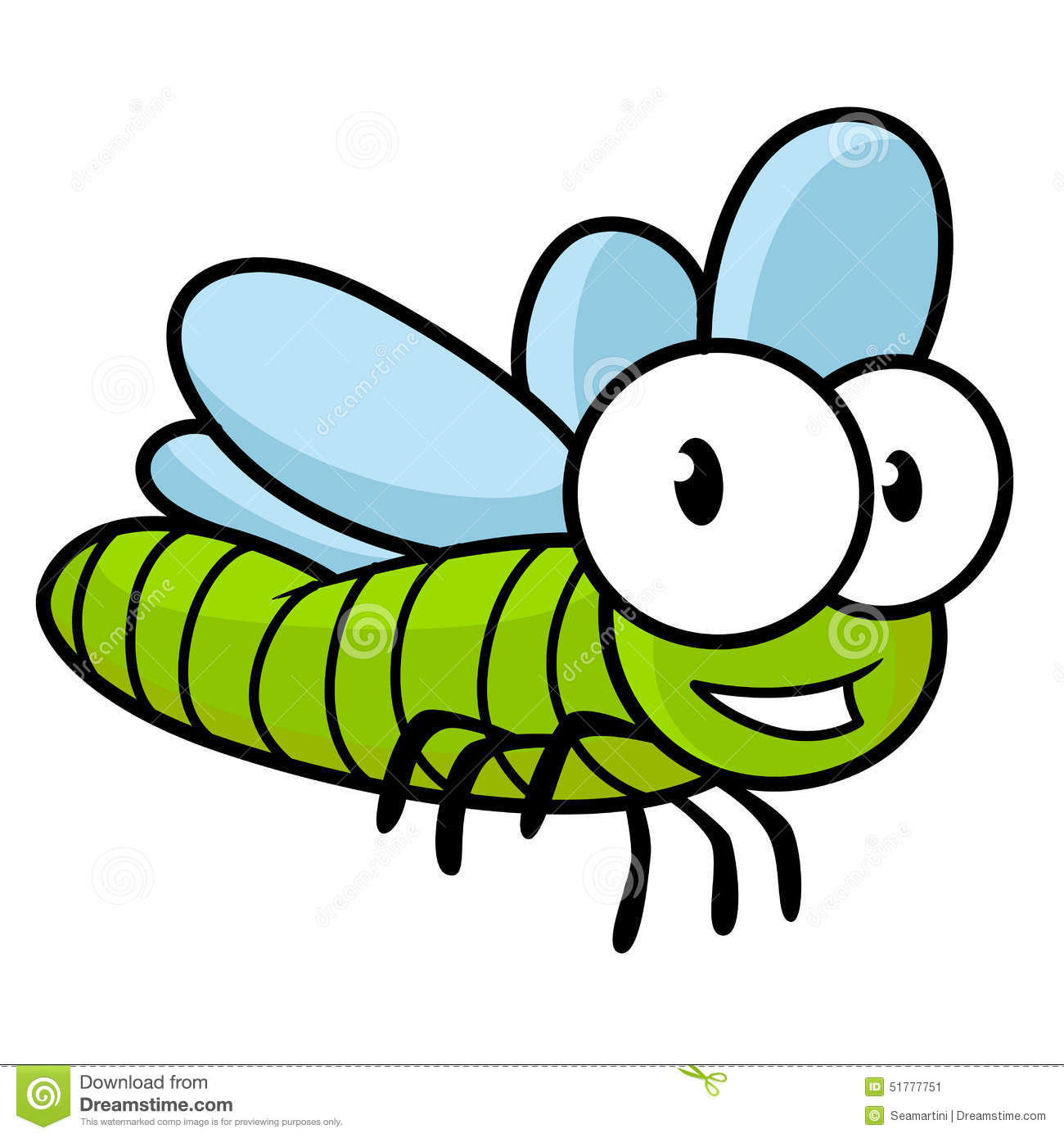 Cute Little Kids Cartoon Flying Dragonfly Stock Vector