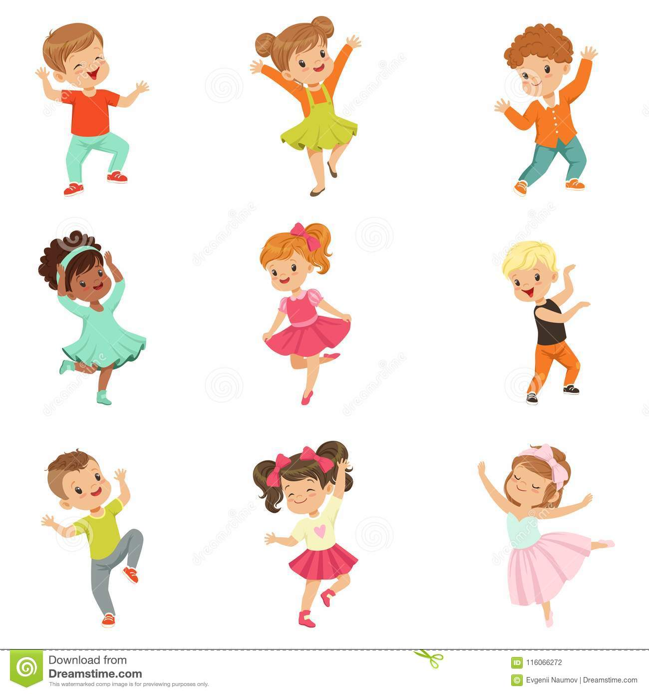 Cute little kids dancing set, modern and classical dance performed by children vector Illustrations on a white
